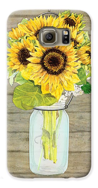 Rustic Country Sunflowers In Mason Jar Galaxy S6 Case by Audrey Jeanne Roberts
