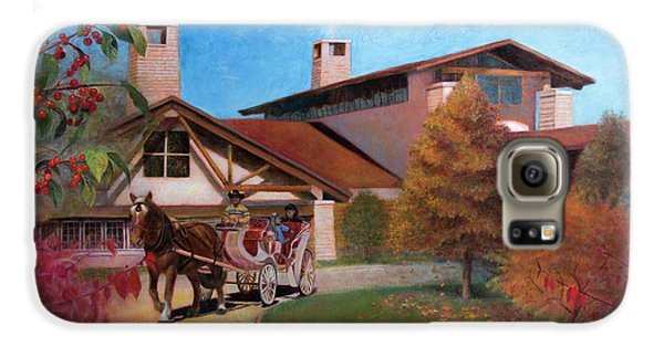 Galaxy S6 Case featuring the painting Rustic Lodge by Nancy Lee Moran