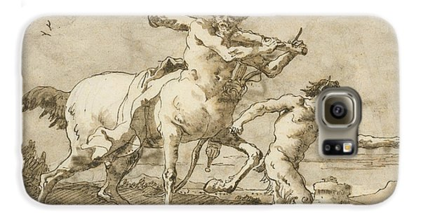 Centaur Galaxy S6 Case - Satyr Leading A Centaur, Who Carries A Club, Bow And Quiver, Outside The Walls Of A City by Giovanni Domenico Tiepolo