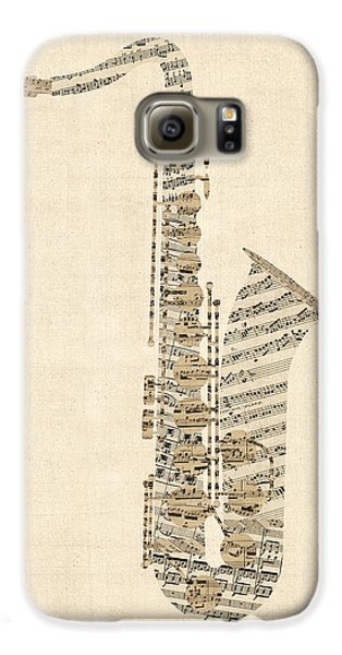 Saxophone Galaxy S6 Case - Saxophone Old Sheet Music by Michael Tompsett