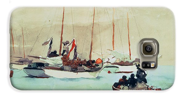 Boat Galaxy S6 Case - Schooners At Anchor In Key West by Winslow Homer