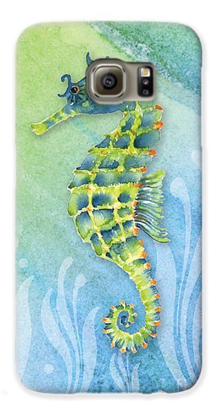 Seahorse Blue Green Galaxy S6 Case by Amy Kirkpatrick