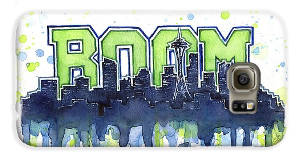Seattle 12th Man Legion Of Boom Watercolor Galaxy S6 Case by Olga Shvartsur