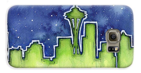 Seattle Night Sky Watercolor Galaxy S6 Case