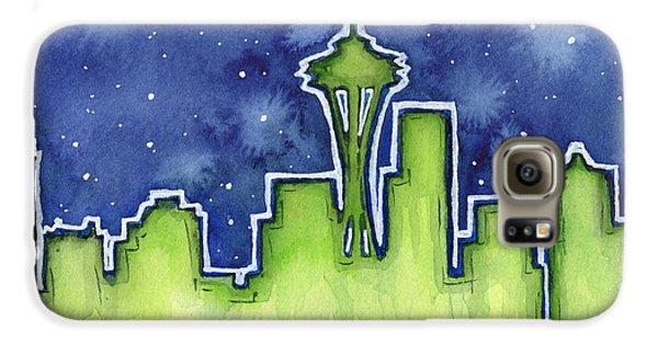 Seattle Night Sky Watercolor Galaxy S6 Case by Olga Shvartsur