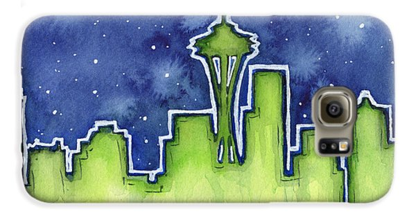 Seattle Night Sky Watercolor Galaxy S6 Case by Olga Shvartsur