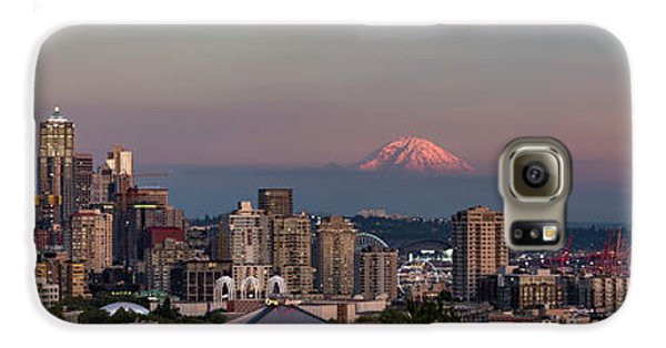Galaxy S6 Case featuring the photograph Seattle Skyline And Mt. Rainier Panoramic Hd by Adam Romanowicz