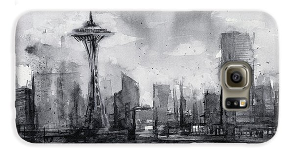 Seattle Skyline Painting Watercolor  Galaxy S6 Case by Olga Shvartsur
