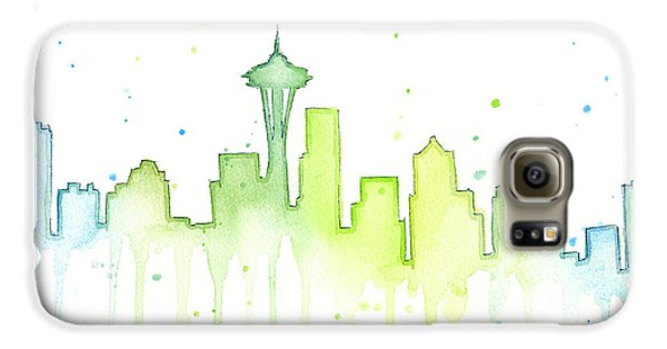 Space Galaxy S6 Case - Seattle Skyline Watercolor  by Olga Shvartsur