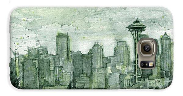 Seattle Galaxy S6 Case - Seattle Skyline Watercolor Space Needle by Olga Shvartsur