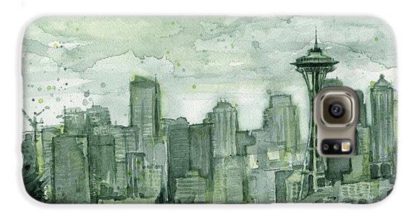 City Scenes Galaxy S6 Case - Seattle Skyline Watercolor Space Needle by Olga Shvartsur