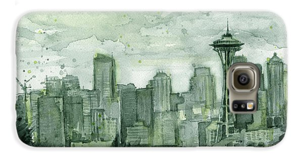 Seattle Skyline Watercolor Space Needle Galaxy S6 Case by Olga Shvartsur