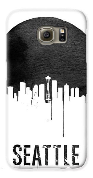 Seattle Skyline White Galaxy S6 Case by Naxart Studio