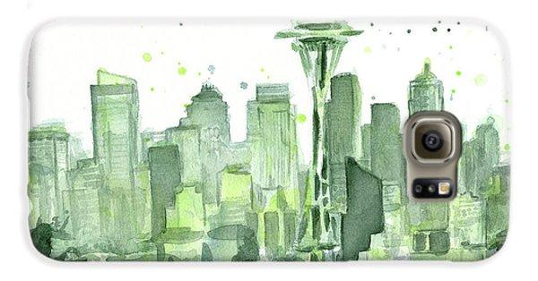 Seattle Galaxy S6 Case - Seattle Watercolor by Olga Shvartsur