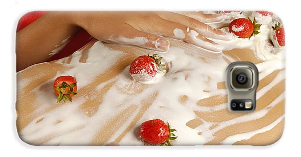 Sexy Nude Woman Body Covered With Cream And Strawberries Galaxy S6 Case by Oleksiy Maksymenko
