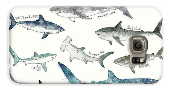 Sharks - Landscape Format Galaxy S6 Case by Amy Hamilton