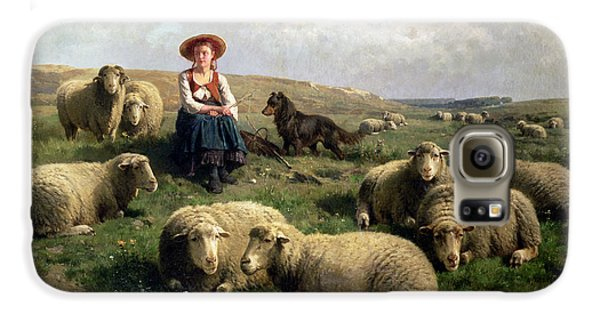 Sheep Galaxy S6 Case - Shepherdess With Sheep In A Landscape by C Leemputten and T Gerard
