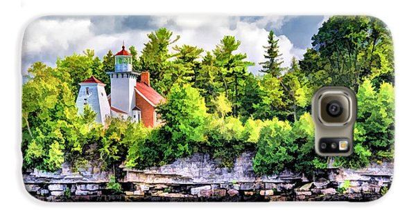 Galaxy S6 Case featuring the painting Sherwood Point Lighthouse by Christopher Arndt