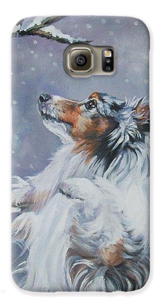 Chickadee Galaxy S6 Case - Shetland Sheepdog With Chickadee by Lee Ann Shepard