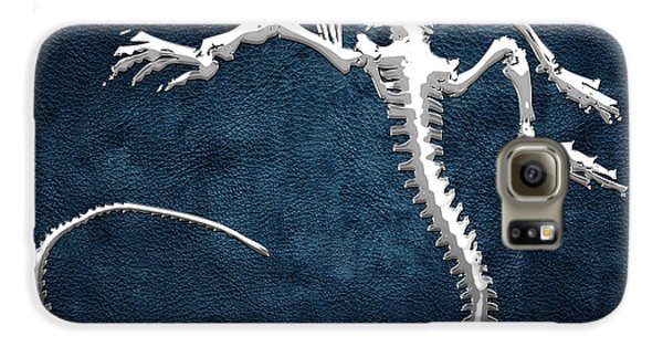 Design Galaxy S6 Case - Silver Iguana Skeleton On Blue Silver Iguana Skeleton On Blue  by Serge Averbukh