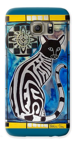 Galaxy S6 Case featuring the painting Silver Tabby With Mandala - Cat Art By Dora Hathazi Mendes by Dora Hathazi Mendes