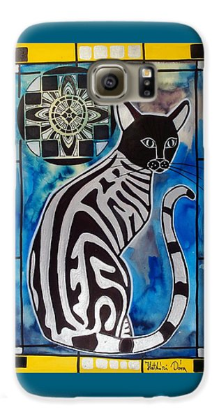 Silver Tabby With Mandala - Cat Art By Dora Hathazi Mendes Galaxy S6 Case