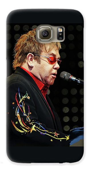 Sir Elton John At The Piano Galaxy S6 Case by Elaine Plesser