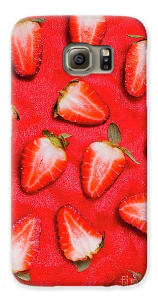 Strawberry Galaxy S6 Case - Sliced Red Strawberry Background by Jorgo Photography - Wall Art Gallery