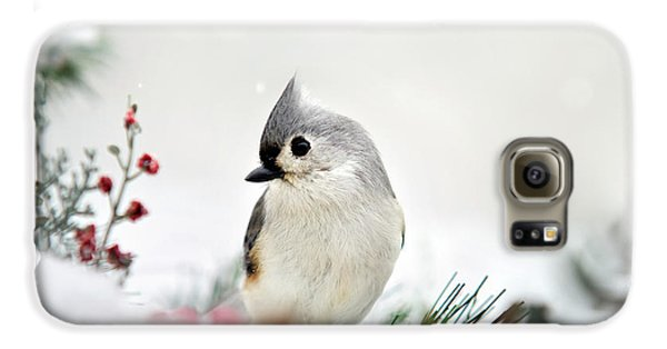 Titmouse Galaxy S6 Case - Snow White Tufted Titmouse by Christina Rollo