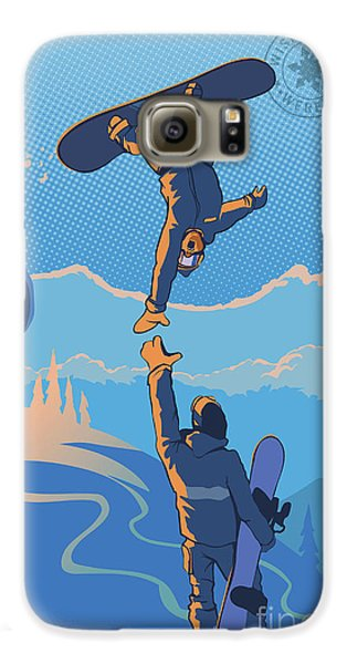 Mountain Sunset Galaxy S6 Case - Snowboard High Five by Sassan Filsoof