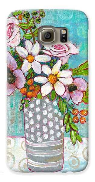 Sophia Daisy Flowers Galaxy S6 Case by Blenda Studio