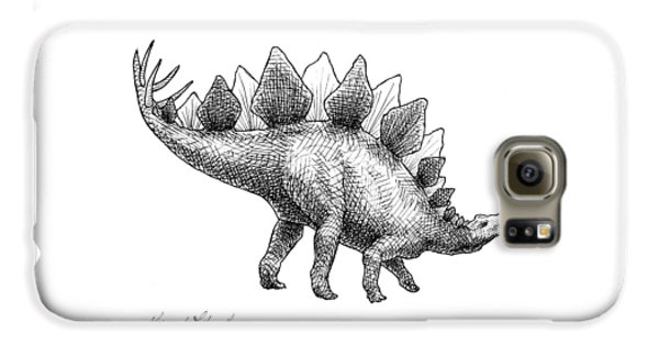 Spike The Stegosaurus - Black And White Dinosaur Drawing Galaxy S6 Case