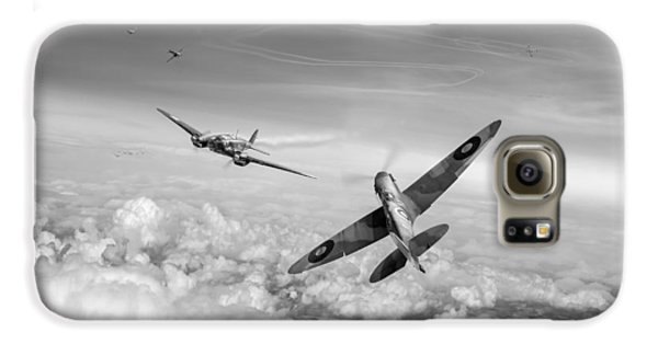 Galaxy S6 Case featuring the photograph Spitfire Attacking Heinkel Bomber Black And White Version by Gary Eason