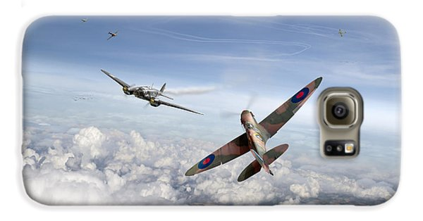Galaxy S6 Case featuring the photograph Spitfire Attacking Heinkel Bomber by Gary Eason