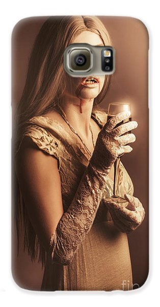 Spooky Vampire Girl Drinking A Glass Of Red Wine Galaxy S6 Case by Jorgo Photography - Wall Art Gallery