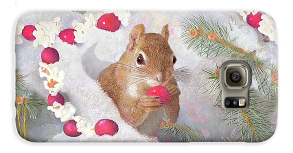 Galaxy S6 Case featuring the painting Squirrel In Snow With Cranberries by Nancy Lee Moran