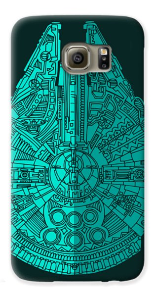 Falcon Galaxy S6 Case - Star Wars Art - Millennium Falcon - Blue 02 by Studio Grafiikka