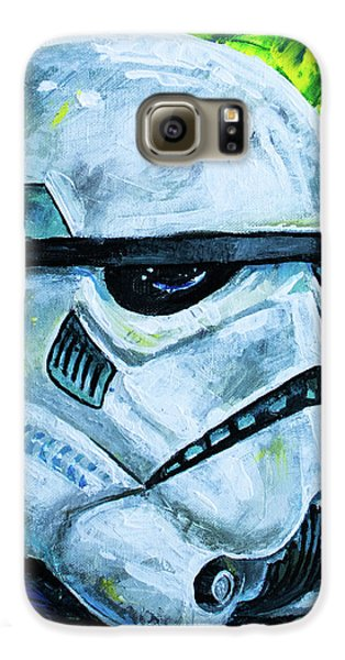 Galaxy S6 Case featuring the painting Star Wars Helmet Series - Storm Trooper by Aaron Spong