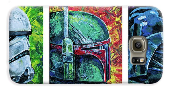 Galaxy S6 Case featuring the painting Star Wars Helmet Series - Triptych by Aaron Spong