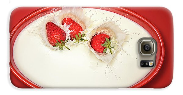 Strawberry Galaxy S6 Case - Strawberries Splashing In Milk by Johan Swanepoel