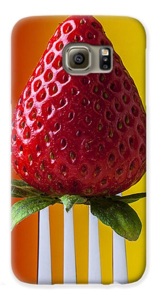 Strawberry On Fork Galaxy S6 Case by Garry Gay
