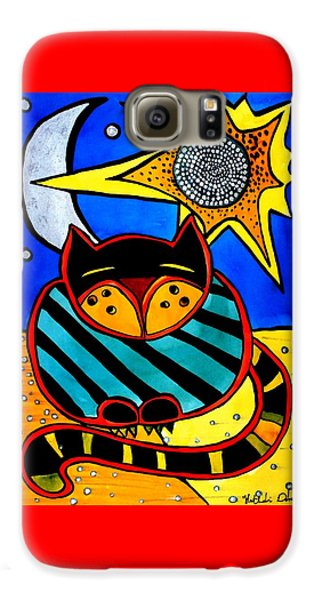 Sun And Moon - Honourable Cat - Art By Dora Hathazi Mendes Galaxy S6 Case by Dora Hathazi Mendes
