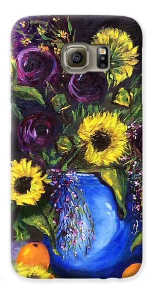 Galaxy S6 Case featuring the painting Sunflower Frenzy by Patti Ferron