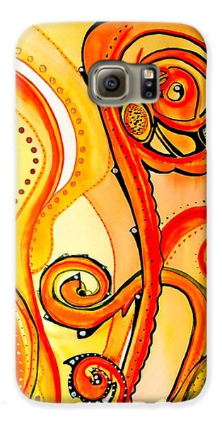 Galaxy S6 Case featuring the painting Sunny Flower - Art By Dora Hathazi Mendes by Dora Hathazi Mendes