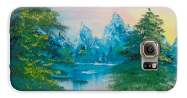 Galaxy S6 Case featuring the painting Sunset Lake by Saundra Johnson