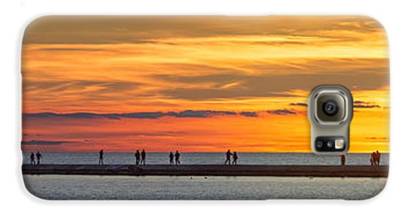 Galaxy S6 Case featuring the photograph Sunset Over Ludington Panoramic by Adam Romanowicz