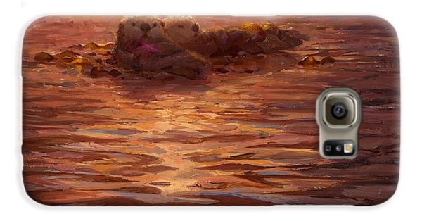 Otter Galaxy S6 Case - Sunset Snuggle - Sea Otters Floating With Kelp At Dusk by Karen Whitworth
