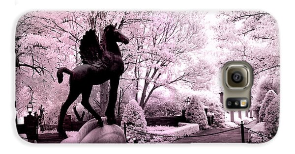Surreal Infared Pink Black Sculpture Horse Pegasus Winged Horse Architectural Garden Galaxy S6 Case by Kathy Fornal