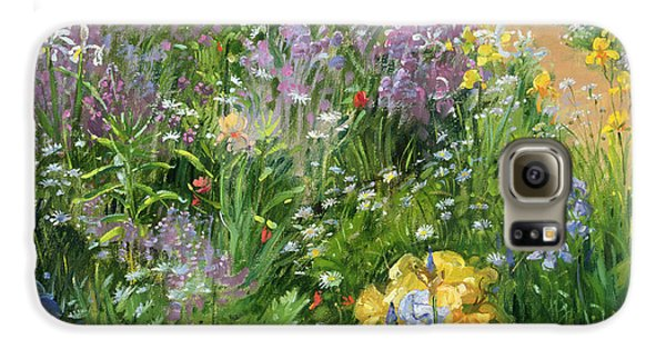 Garden Galaxy S6 Case - Sweet Rocket - Foxgloves And Irises by Timothy Easton