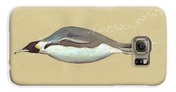Penguin Galaxy S6 Case - Swimming Penguin Painting by Juan  Bosco